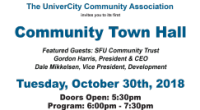 The UniverCity Community Association (UCA) invites you to its first Community Town Hall event on Tuesday, October 30th, 2018 at University Highlands […]