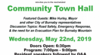 Join the UniverCity Community Association at the 2nd Community Town Hall Forum on May 22! Town Hall May 2019 event poster